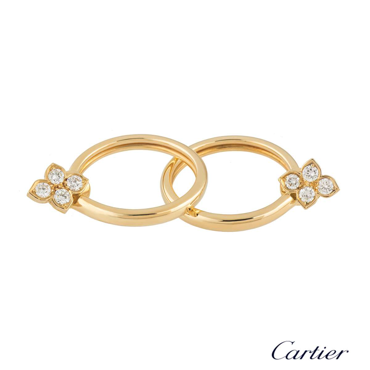 Cartier Yellow Gold Hindu Diamond Earrings